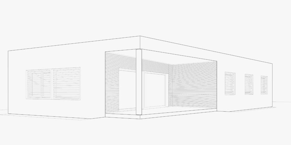 assonometria casa in legno