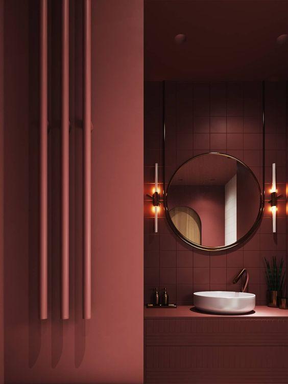 bagno monocromatico color marsala
